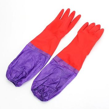 NEW Safurance Kitchen Wash Cleaning Rubber Latex Cashmere Gloves Waterproof Long Sleeves Workplace Safety