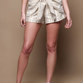 JOA Highwaist Tie Front Shorts - Sand