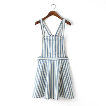 Stylish Stripes With Pocket Denim Dress Women's Fashion One Piece Dress [4914987908]
