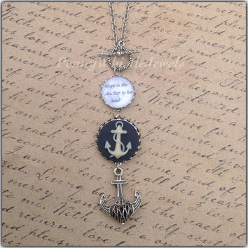 Anchor Necklace, Quote Necklace, Hope Is The Anchor To Her Soul, Graduation Gift, Inspirational Quote Jewelry, Cameo Jewelry, PennyWhistle