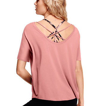 Super Soft Strappy Open Back Tee - PINK - Victoria's Secret