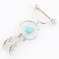 Retail 2 pieces/lot dream Catcher Nipple ring Beautiful Nickel-free Body Piercing jewelry 14G 316L surgical steel bar TAIERS