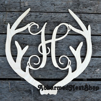 Unpainted Wooden Antler Monogram Door Hanger, Vine Script Initial with Connected Antler Frame, Home Decor