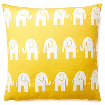 16x16 Yellow Elephant Print Decorative Pillow Cover - Same Fabric Both Sides