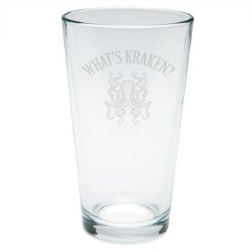 LMFCY8 What's Kraken Octopus Squid Etched Pint Glass