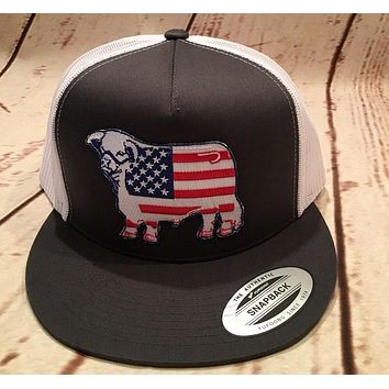Lazy J Grey and White American Flag Hereford Patch Cap   Mesh Trucker