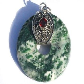 Sterling Silver Bali Green Moss Agate Donut with Garnet Pendant