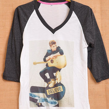 Justin Bieber Guitar Believe Cover Album Pop Indie Punk Tattoo Vintage Lady Women Fashion T shirt V Neck Size S M L