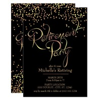 Sparkling Gold Retirement Party Invitations