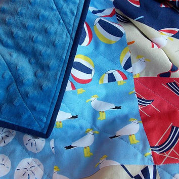 Baby Boy Quilt - Beach - Lake - Nautical Theme - Blue