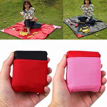 Portable Compact Outdoor Garden Camping Beach Picnic Pocket Blanket Mat Nylon Waterproof