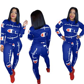 Champion New fashion more letter print long sleeve top and pants two piece suit Sapphire Blue