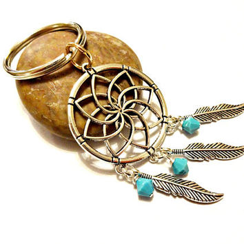 Dream Catcher Keychain with Turquoise Swarovski Crystal Beads, Dream Catcher Key Chain, Gift For Her, Crystal Keychain, Turquoise Key Chain