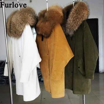 Furlove  2017 Winter jacket coat women parka Corduroy fur coat real raccoon fur collar Real natural Lamb fur liner brand style