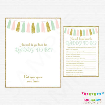 Pink Mint Gold Baby Shower Games, How well do you know the DADDY to be, Baby Shower Printables, Instant Download, Glitter Tassels, TASPMG