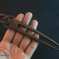 Wood Hair Stick Tribal Pagoda Carving, Wooden Hair Fork 2 Prong Hair Accessories