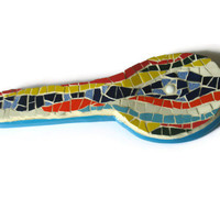 Spoon Rest Mosaic Colorful Ceramic Tile Kitchen Decor   #rainbow