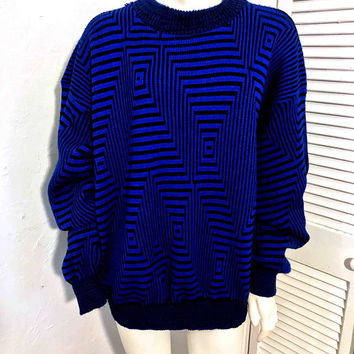 Vintage Men's Black and Electric Blue Sweater / Psychedelic Funky OP ART Pattern / Pullover Crew Neck Crosby Sweater / American Weekend
