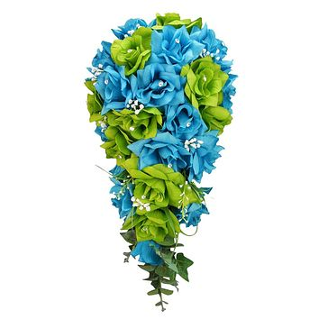 Cascade bouquet - Apple Green and Deep Blue Artificial Flower Arrangement