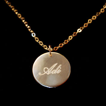 Personalized Name Necklace made of silver PLATED with 18k GOLD Engraved Coin - Carrie Style