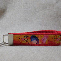 Keychain Wristlet Made With Winnie The Pooh Inspired Ribbon