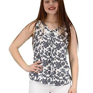 Peach Couture Two Tone Floral Rose Print Laced Neck Line Womens Top Blouse Shirt