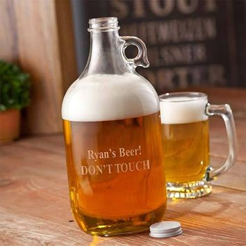 Personalized Brewmasters Glass Beer Growler Free Engraving