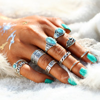 Turquoise Trendy Boho Midi-Knuckle Rings Set of 10 - Silver or Gold