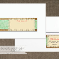Mint Damask Lace & Burlap Envelope Wrap Address Label Printable Classic Shabby Chic Doily PDF Wraparound DIY Address Labels - Faith Style