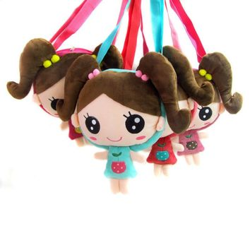 Korean version cartoon pigtail doll head children Messenger shoulder bag baby girls party bags gift