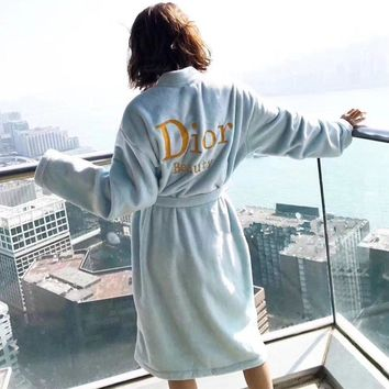 dior women velvet home sleepwear embroidery letter long sleeve middle long section cardigan nightgown bathrobe coat