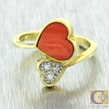 Vintage Estate 14k Solid Yellow Gold Coral Heart Diamond Crossover Band Ring