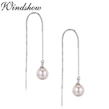 Cute 925 Sterling Silver Box Chain Link Round Pink Shell Pearl Ball Drop Long Earrings For Women Girls Jewelry Aretes Oorbellen