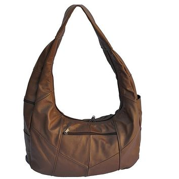 Large Top Zip Hobo Genuine Leather Brown Color