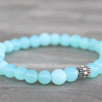 Bright Aqua Blue Peruvian Opal and Bali Sterling Silver Stretch Bracelet By CraeVita BoHo Chic Jewelry