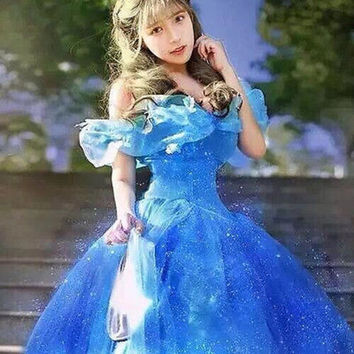 2016 New Movie Scarlett Sandy Princess Dress Off Shoulder blue Cinderella Costume Adult girls Hot Sale Free Shipping
