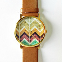 Wood Chevron Watch, Vintage Style Leather Watch, Women Watches, Unisex Watch, Boyfriend Watch, Tan, White,