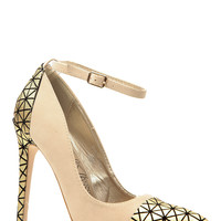 Nude and Gold Faux Suede Pointed Toe Ankle Strap Heels