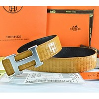 Hermès Women Men Fashion Smooth Buckle Belt Leather Belt