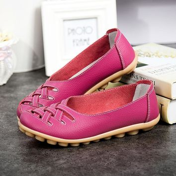 Genuine leather summer women flats shoes 2017 casual flat shoes women loafers shoes le