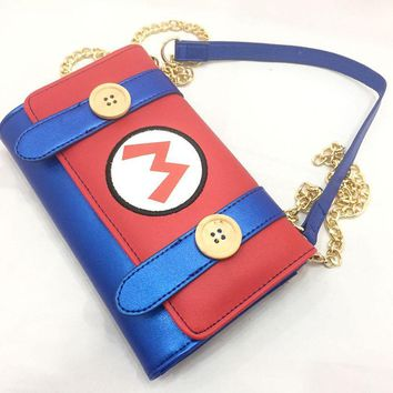 Super Mario party nes switch Classic Game  Messenger Bag PU Leather Long Purse Day Clutch Small Chain Crossbody Bags Creative Gift Mini Handbag AT_80_8
