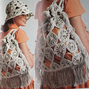 Beach Hat Bag Set PDF Instant Download hat purse handbag sunhat crochet hat Vintage pattern crochet 70 knit supplie epsteam knitting pattern