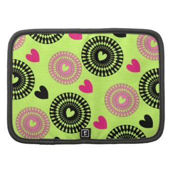 Cool Retro Style Hearts and Flowers Pattern Organizers