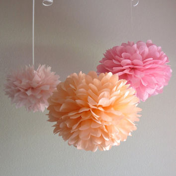 5 Pom Poms - Peachy Pink Tissue Paper Pom Pom Collection - More Colors Available - Weddings, Birthday, Bridal Shower, Nursery, Decorations