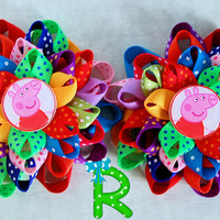 2 Peppa Pig loopy flower bows , Set of loopy flower bows , Peppa pig layered bows , peppa shoes bows ,