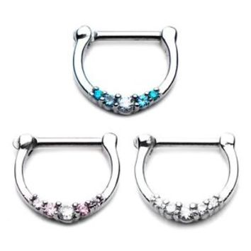 Septum clicker CZ  Jeweled  Nose Ring 14 or 16  Gauge -SEPT41062