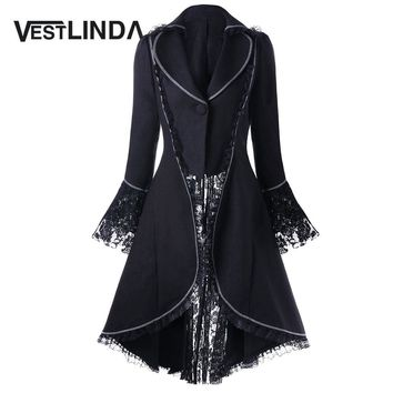 VESTLINDA Outerwear Coats Women Lace Panel Lace-Up High Low Coat Winter Coat Women New Fashion Casual Long Tops Black Red 2017