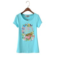 Juicy Couture Floral Tiger Graphic Tee T011 Women T-shirt Sky Blue