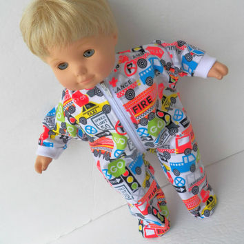 American Girl Bitty Baby Doll Clothes Boy or Twin White Flannel Firetruck, Police Car, Ambulance, Taxi Pjs Pajamas Sleeper