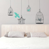Bird cages wall decal, wall sticker, decal, wall graphic , living room decal, bedroom decal, vinyl decal in dark grey, vinyl graphic decal